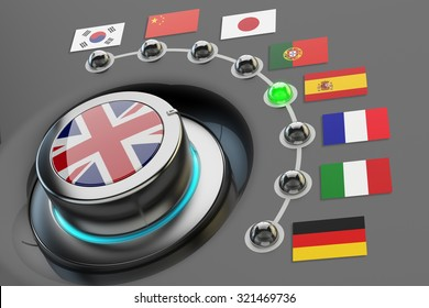 Online translator concept, multi-language website interface, switch knob language selector with flags of the world countries