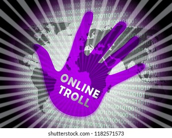 Online Troll Rude Sarcastic Threat 2d Illustration Shows Cyberspace Bully Tactics By Trolling Cyber Predators