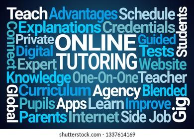 Online Tutoring Word Cloud on Blue Background
