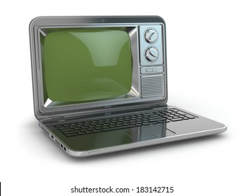 Online tv. Laptop with old-fashioned tv screen. 3d
