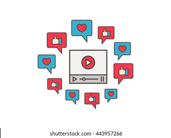 Online viral video colorful illustration. Like, heart, dialogue box, media technology creative concept. Internet viral web video graphic design.