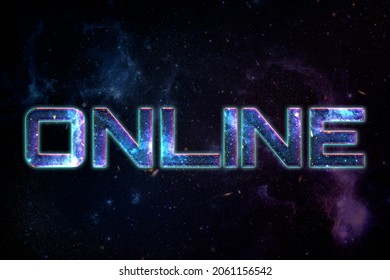 ONLINE word typography text on galaxy background