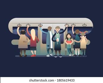 Onlookers passengers in trasport. Transportation train, metro or subway, railway urban, illustration