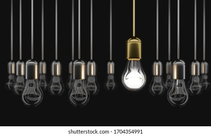 The only glowing bulb among a lot of unlit ones. Uniqueness and originality. 3D illustration