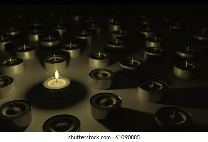 Only one lit candle stands out from the crowd.