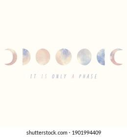 Es ist nur eine PhasenIllustration der Mondphasen in Pastellfarben