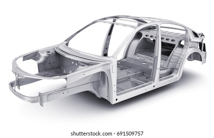 Only stell body car, chassis. 3d illustration