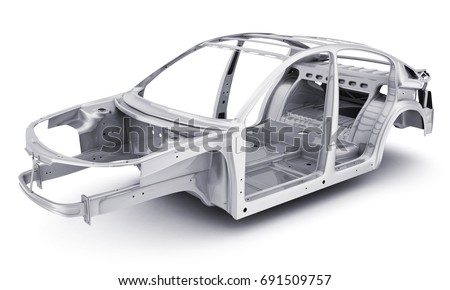 only stell body car chassis 3 d stock illustration 691509757