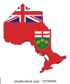 Ontario, Canada, state, province, flag, map, national, isolated, white background,