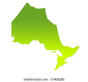 Ontario province of Canada map in gradient green, isolated on white background.