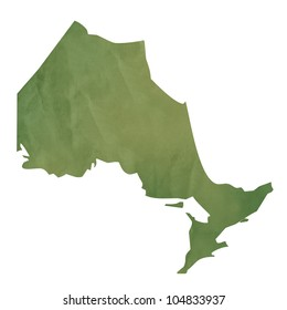 Ontario province of Canada map in old green paper isolated on white background.