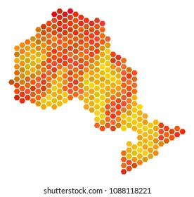 Ontario Province map. Raster hex-tile territorial plan drawn with hot color variations. Abstract Ontario Province Map mosaic is constructed of orange hexagon spots.
