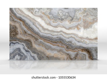 Onyx marble tile standing on the white background with reflections and shadows. Texture for design. 2D illustration. Natural beauty