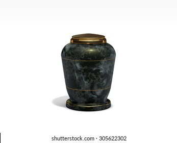 onyx stone funeral urn on white background