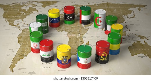 OPEC concept. Oil barrels in color of flags of countries memebers of OPEC on world political map background. 3d illustration
