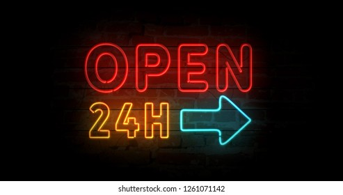 Open 24h neon sign light on brick wall background. Glowing large illuminated advertisement concept 3D illustration. Retro style.