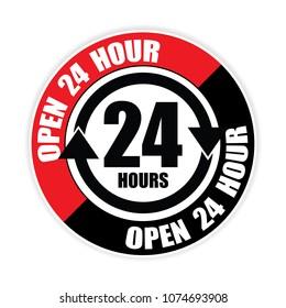 open 24hour sticker.