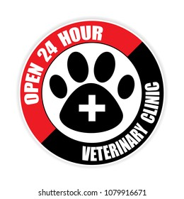 open 24hour  Veterinary clinic sticker.