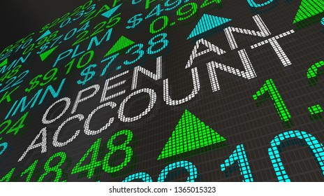 Open an Account New Customer Brokerage Firm Stock Market Ticker 3d Illustration