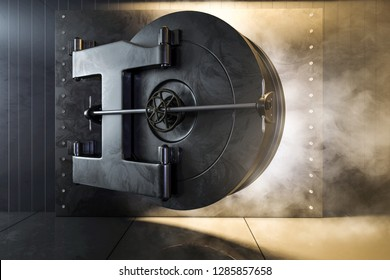 Open bank safe (3D Rendering)