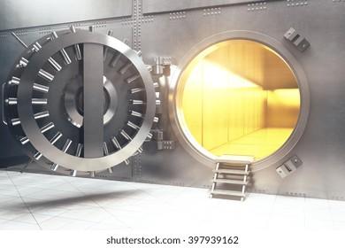 Open bank vault with golden walls. 3D Rendering