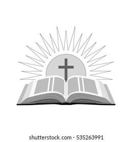 Open bible with sun and cross icon. Church logo concept. Symbol in trendy flat style isolated on white background. Illustration element for your web site design, logo, app, UI.