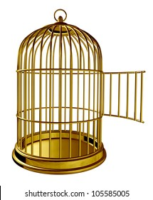 Open bird cage as a golden brass metal prison with an opened door as a symbol of freedom and release isolated on white background.