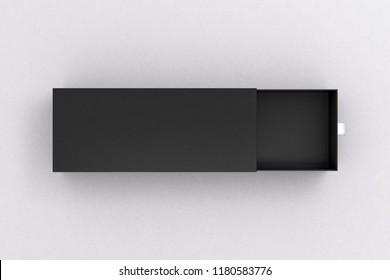 Open black blank empty long box on white background. 3d illustration