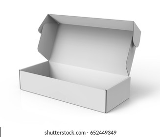 open blank 3d rendering roll end tuck top box, isolated white background
