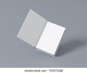 Open blank book mockup 3d rendering