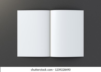Open blank booklet on black background with clipping path around booklet. 3d illustration