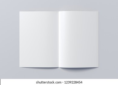 Open blank booklet on white background with clipping path around booklet. 3d illustration