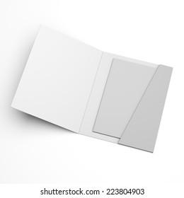 open blank folder with brochure