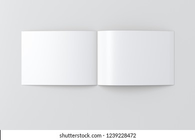 Open blank horizontal booklet on white background with clipping path around booklet. 3d illustration
