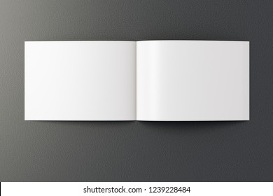 Open blank horizontal booklet on black background with clipping path around booklet. 3d illustration