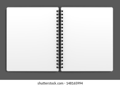 Open blank notebook with black spiral bindings.