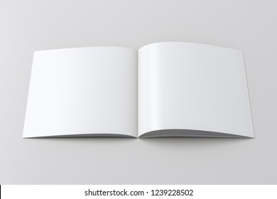 Open blank square booklet on white background with clipping path around booklet. 3d illustration