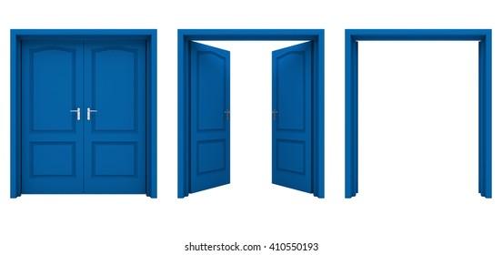 白い背景に青の両開きドア。 3Dイラスト。