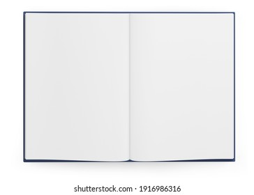 open book with blank pages mockup. Isolated on white background. Top view. 3d illustration