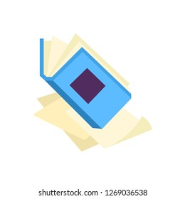 Open book with blue hardcover on paper pages or documents isolated on white background - literary symbol of education, science and reading leisure in flat illustration.
