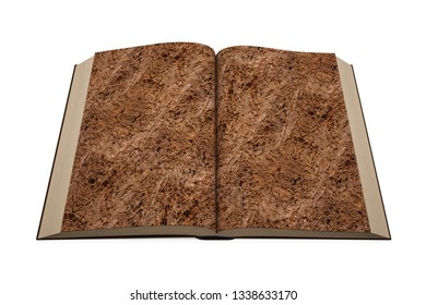 Open book of brown soil texture page, isolated on white background. 3D illustration.