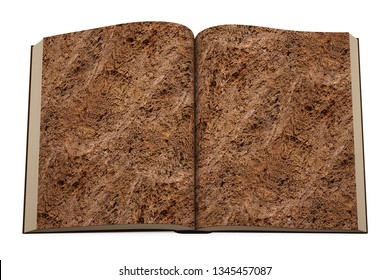 Open book of brown soil texture page, isolated on white background, top view. 3D illustration.
