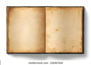 Open book with empty old worn pages on white background