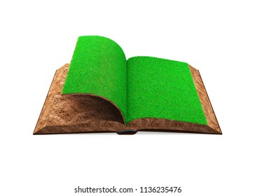 Open book of green grass and soil textured, isolated on white background, high angle view, concept of ECO, renewable energy and circular economy, 3D illustration.