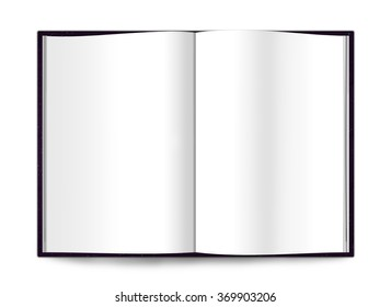 Open book mockup  isolated on white background, simple template for designers, open empty space mock up notebook