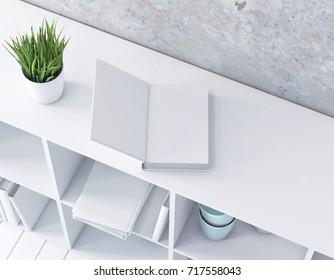 Open book mockup on shelf 3d rendering