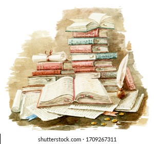 Open book on the table. Ancient folios and scrolls. Handmade watercolor illustration.