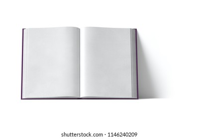 Open book on white background. Front view. 3D illustration
