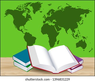 Open book on wooden floor against green wall with world map illustration