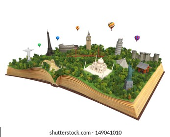 open book showing 3D representations of famous landmarks in the world, concept for travel and tourism isolated on white background and with clipping path
